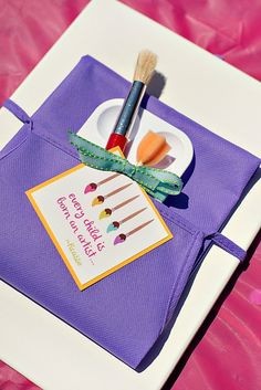Paint Your Own Canvas // Art-themed Birthday Party Idea...cute ideas from Hostess With the Mostess!