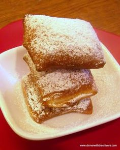 Beignets! Perfect for Mardi Gras never tried but after the princess and the frog i want to try some
