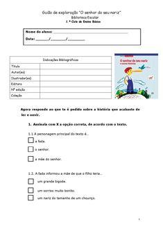 """Guião de leitura """"O senhor do seu nariz"""", de Álvaro Magalhães Projects To Try, Names, 1, Design, Classroom Posters, School Calendar, Kids Story Books, Worksheets, English Lessons"""