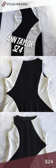 Sz 4 Ann Taylor Dress Pencil Color Block Mini This dress is in great condition. White and black. Pencil style. by Ann Taylor. Size 4. Ann Taylor Dresses Mini