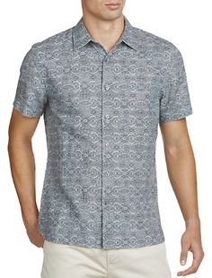 Perry Ellis Mens Big and Tall Digital Jaquard Shirt