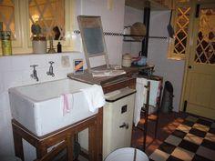 1940s Kitchen at Imperial War Museum  lights in door and windows