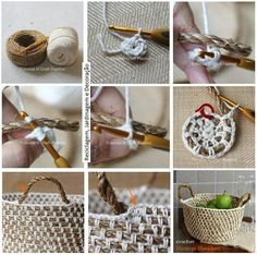 Twine crochet basket. I really want to make this!!!