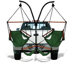 Trailer Hitch Stand and 2 Green Hammaka Chairs Combo - WD