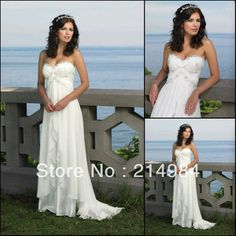 Cheap Price Sexy Bridal White/Ivory Sweetheart Beaded Embellished Beach Chiffon Wedding Dresses Formal Gowns 2013 Free Shipping-in Wedding D...
