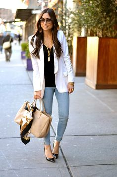 prada bag, white blazer and skinny jeans- with love from kat