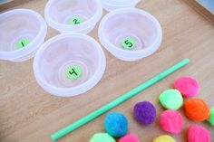 Fun math game for preschool and Kindergarten! Play the straw and pom poms counting game! Fun Math Games, Counting Activities, Number Games, Preschool Learning Activities, Preschool At Home, Activity Games, Space Activities, Sensory Activities, Party Games
