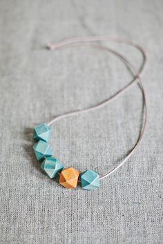 Wooden Boho Necklace / Mint Necklace / Mustard Mint by BlueBirdLab