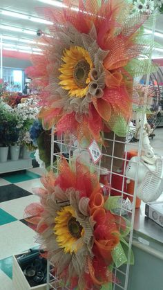 And fall begins again what to do with a big sunflowers big deco mesh wreaths by Rhonda