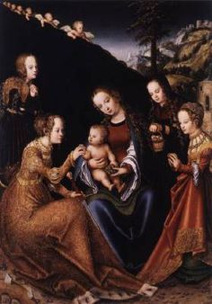 CRANACH, Lucas the Elder (b. 1472, Kronach, d. 1553, Weimar)   Click! The Mystic Marriage of St Catherine  c. 1516 Oil and tempera on limewood, 68 x 47 cm Szépmûvészeti Múzeum, Budapest  Signed at bottom left with a winged serpent, the artist's sign.  The works of Lucas Cranach the Elder are as varied and full of incident as was his career as an artist. As a young man, he lived and worked in Vienna from 1500 to 1503, the period when he came in contact with the Danube School,
