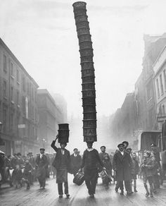 Covent Garden porter carrying a basket 'Eiffel Tower', by . SSPL Science and Society Picture Library Vintage London, Old London, East London, Weird Pictures, Old Pictures, London Pictures, Vintage Photographs, Vintage Photos, London Pride