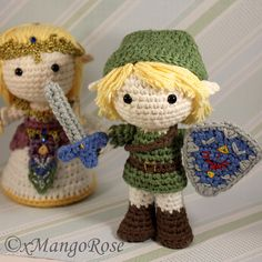 "gamingurumi: ""Link Amigurumi Doll Plush from Legend of Zelda (Crochet Pattern) "" Crochet Geek, Crochet Amigurumi, Crochet Gifts, Cute Crochet, Amigurumi Patterns, Amigurumi Doll, Crochet Dolls, Crochet For Kids, Crochet Baby"