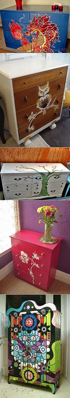 Реставрация и роспись мебели – стола и комода своими руками