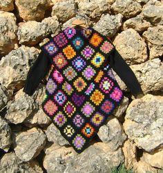 Granny Square Crochet Blanket Jacket Upcycled Granny Square Black Jacket S/M WinterJacket Crochet Crafts, Crochet Projects, Sewing Crafts, Crochet Jacket, Crochet Cardigan, Crochet Granny, Knit Crochet, Blanket Jacket, Beautiful Crochet