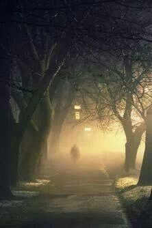 Dark path at night
