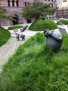 #sculpture / Martha Schwartz city park in front of the US Courthouse buildings in downtown Minneapolis // Green Home