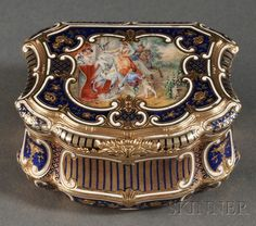 Swiss 14kt Yellow Gold and Enamel Snuff Box, Nuenburg, c. 1820-66,