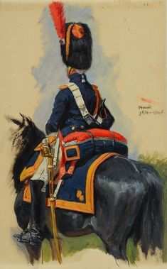 French horse Grenadier of the guard, The Napoleonic wars , by Lucien Rousselot.