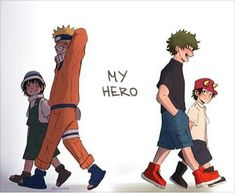 """""""Izuku and Kouta reminds me of Naruto and Inari from the very first episodes. Inari also lost their parents and didn't believed in heroes, but Naruto save him. Because Naruto ended :') but he forever will be in my heart. Boku No Hero Academia, My Hero Academia Memes, Hero Academia Characters, My Hero Academia Manga, Manga Anime, Fanarts Anime, Otaku Anime, Anime Naruto, Anime Guys"""