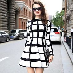 Women's Fashion Check Stripe Long Sleeve Dress - USD $ 44.99