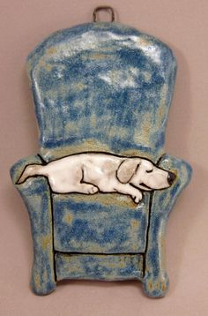 Couch Potato...White Labrador...3D Wall Tile in от elukka на Etsy, €40.00