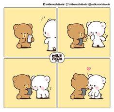 Cute Bear Drawings, Cute Little Drawings, Cute Cartoon Drawings, Cute Couple Cartoon, Cute Cartoon Pictures, Cute Love Cartoons, Cute Love Pictures, Cute Love Gif, Cute Emoji Combinations