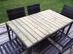 DIY patio table using fence boards.   Great solution for glass tops that brake every time! I love my new table!