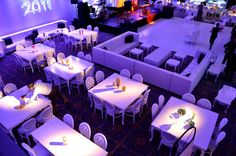 Zak's Barmitzvah ∼ Event Planner Marsha Brumer Events ∼ White Glam Sectional Sofas and White Glam Dining Tables & Chairs by Joe's Prop House www.joesprophouse.com Prop House, Dining Table Chairs, Bar Mitzvah, Event Decor, Sectional Sofas, Table Decorations, Events, Furniture, Home Decor