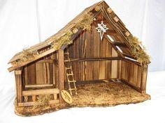 Afbeeldingsresultaat voor wooden nativity stable