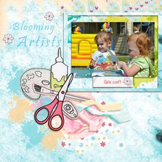 """I titled this layout """"Blooming Artists.""""  It's my friend's granddaughter and her friend.  The kit I used is called """"Super Craft.""""  It's created by Pati Araujo and is located at Digital Scrapbook Pages. It's a big bundled kit, but you can by it in separate pieces as well."""