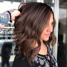 "17 Likes, 3 Comments - ORLANDO Balayage Specialist (@hairbykatchase) on Instagram: ""Chocolate and caramel swirls 🖤. . . . . . #caramelbalayage #caramelhighlights #lob #haircut…"""