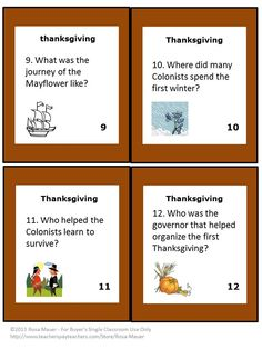 Thanksgiving Facts: On each of these 24 task cards there is a question about Thanksgiving. Students may use books or other sources to find the answers to these common questions. A response form for students is provided. An answer key is given for teachers.