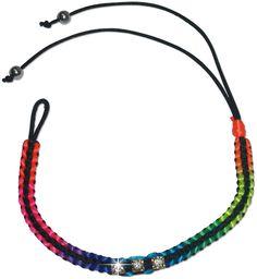 Multi-colored neon beaded friendship bracelet on black string