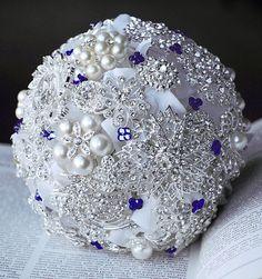 (LC)Vintage Bridal Brooch Bouquet  Pearl Rhinestone by LXdesigns, $156.00