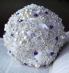 (LC)Vintage Bridal Brooch Bouquet  Pearl Rhinestone by LXdesigns, $156.00
