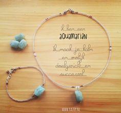 setje armband en ketting met aquamarijn edelsteen