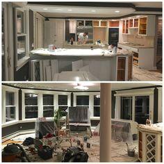 キッチンとリビングのリフォーム :壁とキャビネット収納棚の塗り替え。