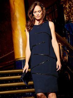 M&Co. Women Sequin trim layered shift dress