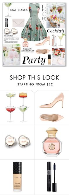 """""""Cocktail Party Dress"""" by krystalkm-7 ❤ liked on Polyvore featuring LSA International, Casadei, Plum Pretty Sugar, Tory Burch, Gucci, Christian Dior and Verali"""