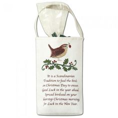 Bird Seed Bag w/ Scandinavian Tradition Quote Handcrafted Tote