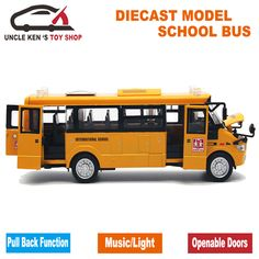 >> Click to Buy << Diecast School Bus Model, 22Cm Metal Toy, Brand Alloy Car For Boys With Gift Box/Openable Doors/Music/Light/Pull Back Function #Affiliate