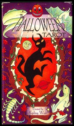 This is the set that I have, and I have been in love with it for years. I bought it in the late 90's, not long after it was created. The Halloween Tarot by Kipling West.  Great deck, based on the Rider-Waite.