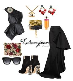 """""""Untitled #26"""" by the-uncool-collective on Polyvore featuring Yves Saint Laurent, Dolce&Gabbana, Lanvin, Chanel, CÉLINE, Prada and Balmain"""