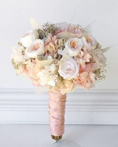 "1e474f092eb122 Floralessence on Instagram  ""Rose gold wedding bouquet All preserved real  flowers to last for years. Cotton candy pink hydrangea"