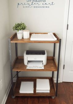 Printing station. Nice idea and love the look Home Office Space, Home Office Design, Home Office Decor, Office Table, Office Room Ideas, Office Designs, Apartment Office, Office Nook, Rustic Office Decor