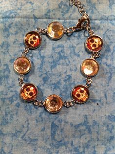 Sugar Skull Bracelet  Red Bow by ChellesUniqueDesigns on Etsy, $15.00