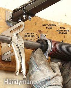 Advanced Garage Overhead Door Repairs: Continue the overhead door repair by connecting the stationary cones to the center bracket. Read more: http://www.familyhandyman.com/doors/garage-door-repair/advanced-garage-overhead-door-repairs/view-all
