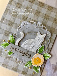 TGIF Challenge - Punch Challenge Using Cat and Leaf Punches - The Stamp Cycle Pet Sympathy Cards, Dog Cards, Animal Cards, Buffalo Check, Happy Birthday Cards, Scrapbook Cards, Homemade Cards, Stampin Up Cards, I Card
