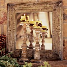 Jackson Square Candlesticks -- so easy to decorate for the season. And the Jackson Square Mirror is on sale now in the Willow House Outlet. Winter Home Decor, Winter House, Square Candles, Pillar Candles, Willow House, Jackson Square, Southern Living Homes, House Painting, Home Accents