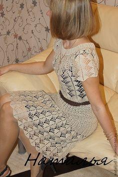"""Платье """"Королевский Беж"""" - золотой,бежевый,платье коктейльное,платье крючком"""